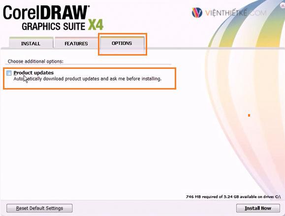 Bỏ Update của CorelDraw. và chọn Install Now và đợi quá trình cài đặt hoàn tất.